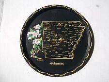 "Vintage Round Black & Gold Arkansas State Souvenir Tin Tray Plate 11"" Wide"