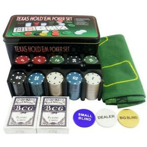 200pcs Casino Games Poker Chips with Box Set Token Fine Plastic Chips Kit ONY