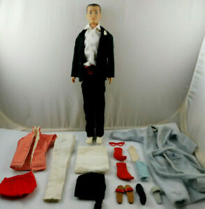 VINTAGE 1960's MATTEL BARBIE KEN DOLL WITH CLOTHES SHOES