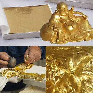 100 Sheets Double Gold DIY Foil Leaf Paper Food Cake Decor Edible Gilding Craft