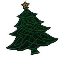 1 x Sew 'n' Iron On Motif Patch Celtic Christmas Tree Black / Emerald