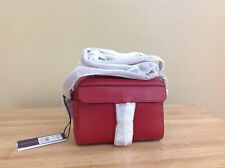 Rebecca Minkoff MAB Pebbled Leather Top Zip Camera Bag Scarlet Red Silver NWT