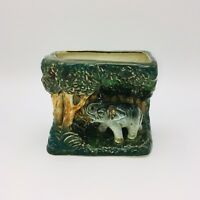 Vintage Elephant and Jungle Flower Ceramic Vase Container Hand Painted in Japan