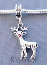 Christmas Pendant dangle Reindeer Fits European Charm Bracelet C101