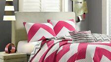 Mi Zone Virgo Chevron Standard Shams ~ Pair ~ Pink Gray White  Reversible