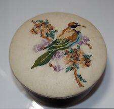 Vintage Hand Made Petit Point Bird Flower Branch Pink Satin Round Trinket Box