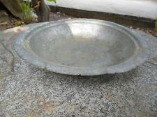 Vintage Antique Copper 10.2'' Plate Bowl Hammered Hand-Made Engraved 19th RARE