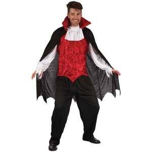 New Mens Dracula Costume Shirt With Jabot & Cape Horror Night Dress-Up Halloween