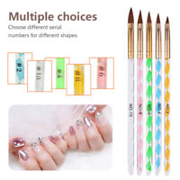 5 Pcs Acrylic Brush Set Nail Art UV Gel Polish Cuticle Pusher Size 4 6 8 10 12 L