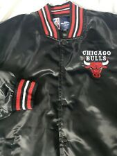 NBA Basketball Chicago Bulls JH Design Black Satin Varsity Jacket  Mens Size XL