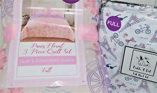 New Kids Rule Paris Floral Bicycles Full Quilt Shams Pickle & Dot Sheet Set 7 Pc