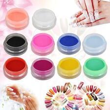 12 Pcs Nail Art Mix Colors Acrylic Powder Dust UV GEL Builder Tips 3D DIY Set KJ