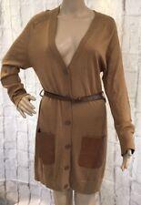H&M Long Cardigan Fine Knit Jacket Size XS Lightweight Khaki