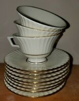 Lot of 11 Lenox Temple Collection Citation Gold 3 Footed Teacups 8 Saucers