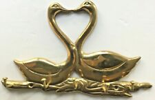 Lacquered Brass Key Holder, cute kissing geese design.  Wall mounted