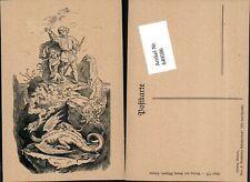 649586,Künstler AK Ludwig Richter Märchen Bechstein Die Drei Hunde Drache