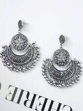 SILVER FLOWER EARRINGS Drop Large Circle Bead Floral Dangle Fashion Boho Gypsy