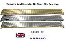 Expanding Watch Bracelet With Squeeze Ends Silver Gold 2-Tone 8mm to 20mm