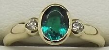 SOLID 9CT YELLOW GOLD NATURAL DIAMOND & SYNTHETIC GREEN EMERALD DRESS RING