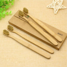 5Pcs Unisex Natural Bamboo Wooden Handle Toothbrush Eco Friendly Soft Bristles
