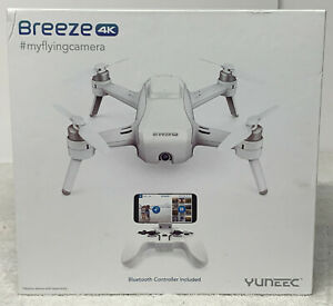 Used Yuneec Breeze 4K Camera Drone - White with bluetooth controller and extras