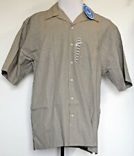 NEW NWT OP Ocean Pacific Olive Green Mini Plaid S/S Button-Front Cotton Shirt M