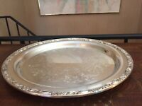 "15"" VTG Rogers & Son Victorian Rose Silverplated Round serving Tray"