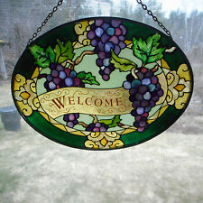 stained glass with leaded border welcome sign