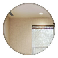 Fab Glass and Mirror Round Beveled Polished Frameless Wall Mirror with Hooks