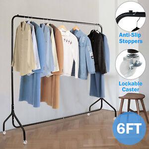 6ft Heavy Duty Clothes Rail Metal Garment Rack Hanging Shop Display Stand Shelf