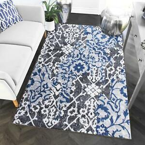 Super Area Rugs Contemporary Modern Ikat Area Rug in Gray