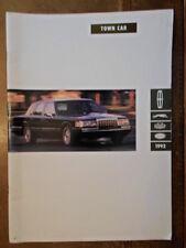 LINCOLN TOWN CAR orig 1992 USA Mkt Large Format Sales Brochure - Cartier