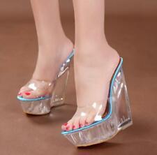 Womens Transparent High Heel Wedge Clear Slipper Platform Sandals Peep Toe Shoes