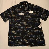 Batik Bay Men's Hawaiian Shirt Blue Button Down Short Sleeve Rayon Size Large