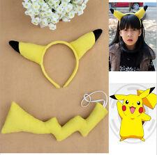 2Ps Pokemon PIKACHU Ears Tail Set Cosplay Fancy Dress Costume Headband Hair Band