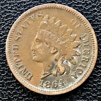1864 Indian Head Cent With L Better Grade One Penny Bronze   #14071