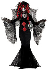 Ladies Long Black & Red Black Widow Spiderweb Halloween Fancy Dress Size 10