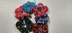 Ponytail Hair Scrunchies, Girls, Women, Patriotic, Red, Blue, Pkg. of 6 Assorted