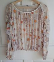 Free People Womens Oversized Cropped Wildflower Honey Blouse Top Shirt Size XS