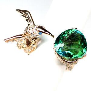 AMETRINE BLUE GREEN PEAR 10.9CT. 925 STERLING SILVER ROSE GOLD BIRD RING SZ 8.25