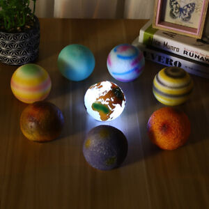 3D Small 8 Planet Galaxy Lamp Colorful USB Charging LED Night Light TouchSwitch