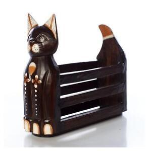 FAIRTRADE BROWN WOODEN CAT MAGAZINE RACK  BRAND NEW FREE POSTAGE 35 CM HIGH