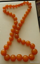 Antique Natural  butterscotch egg yolk Baltic Amber Round  Beads Necklace   91gr