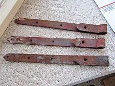 "3 Vintage barn door strap hinges steel gate shed garage 26"" x 2"" x 1/4"" no pins"