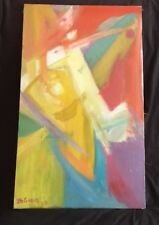 Vtg ABSTRACT NEO EXPRESSIONIST OIL PAINTING Mid Century Modern Signed Dated 1973