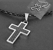 Kreuz Anhänger Edelstahl schwarz Panzer-,Lederkette Halskette Kreuzkette Schmuck