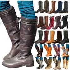 Women Faux Leather Knee High Boots Winter Block Heels Riding Biker Booties Shoes