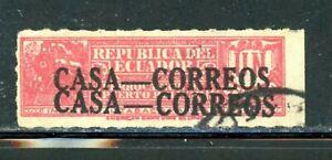 Ecuador RARE ERROR Stamp - Double Overprint - Used