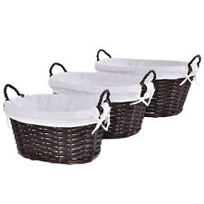 New Set Of 3 Oval Hand-woven Willow Wicker Storage Basket Organizer w/ Lining