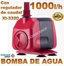 BOMBA AGUA SUMERGIBLE de 1000L/H 18W CAUDAL REGULABLE ACUARIO FUENTE ESTANQUE